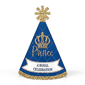 Royal Prince Charming - Personalized Mini Cone Baby Shower or Birthday Party Hats - Small Little Party Hats - Set of 10