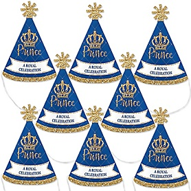Royal Prince Charming - Mini Cone Baby Shower or Birthday Party Hats - Small Little Party Hats - Set of 8