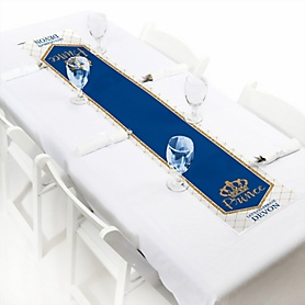 "Royal Prince Charming - Personalized Petite Baby Shower or Birthday Party Paper Table Runner - 12"" x 60"""