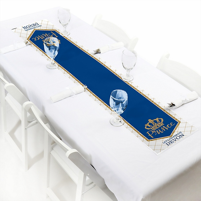 """Royal Prince Charming - Personalized Petite Baby Shower or Birthday Party Paper Table Runner - 12"""" x 60"""""""