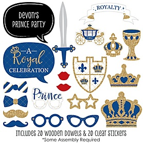 Royal Prince Charming - 20 Piece Baby Shower or Birthday Party Photo Booth Props Kit