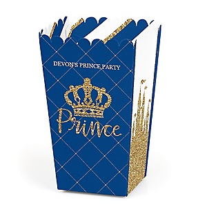 Royal Prince Charming - Personalized Baby Shower or Birthday Party Popcorn Favor Treat Boxes - Set of 12