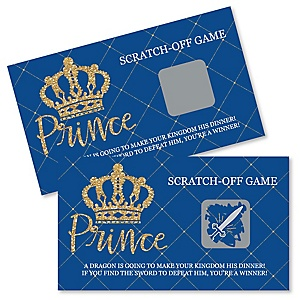 Royal Prince Charming - Baby Shower or Birthday Party Scratch Off Cards - 22 Count