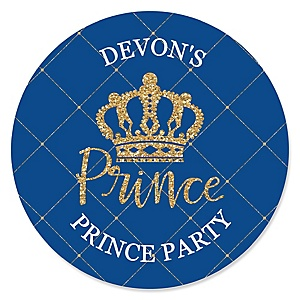 Royal Prince Charming - Personalized Baby Shower or Birthday Party Sticker Labels - 24 ct