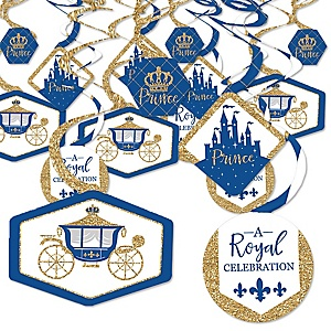 Royal Prince Charming - Baby Shower or Birthday Party Hanging Decor - Party Decoration Swirls - Set of 40