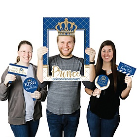 Royal Prince Charming - Personalized Baby Shower or Birthday Party Selfie Photo Booth Picture Frame & Props - Printed on Sturdy Material