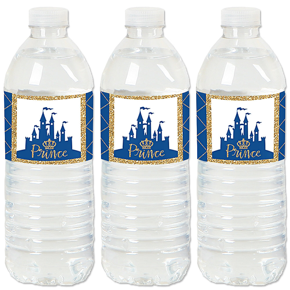 Royal Prince Charming Baby Shower Or Birthday Party Water Bottle