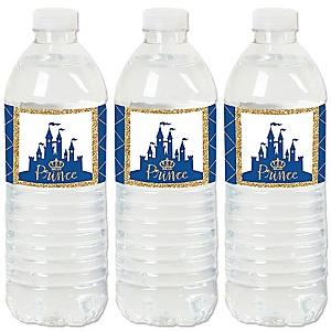 Royal Prince Charming - Baby Shower or Birthday Party Water Bottle Sticker Labels - Set of 20