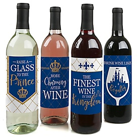 Royal Prince Charming -  Prince Baby Shower or Birthday Party Decorations for Women and Men - Wine Bottle Label Stickers - Set of 4