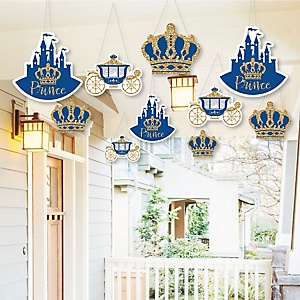 Hanging Royal Prince Charming - Outdoor Baby Shower or Birthday Party Hanging Porch & Tree Yard Decorations - 10 Pieces