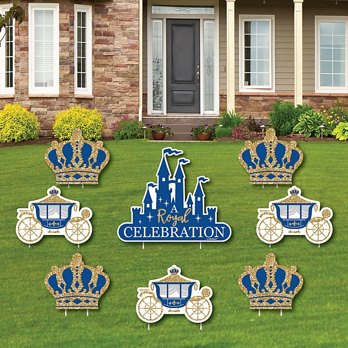 Royal Prince Charming - Yard Sign & Outdoor Lawn Decorations - Baby Shower or Birthday Party Yard Signs - Set of 8