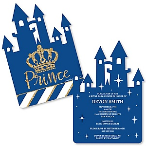 Royal Prince Charming - Shaped Baby Shower Invitations - Set of 12
