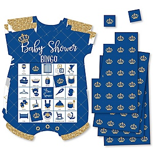 Royal Prince Charming - Picture Bingo Cards and Markers - Baby Shower Shaped Bingo Game - Set of 18
