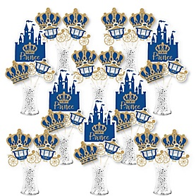 Royal Prince Charming - Baby Shower or Birthday Party Centerpiece Sticks - Showstopper Table Toppers - 35 Pieces