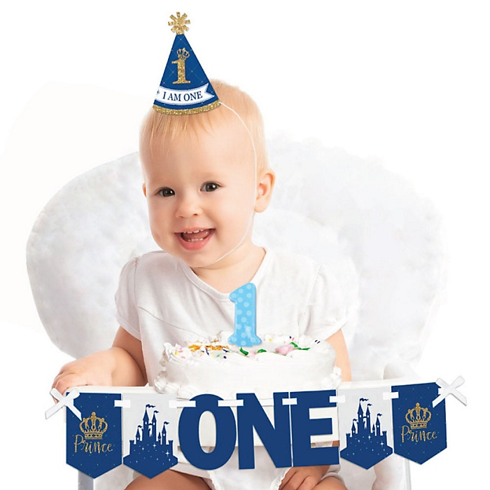Royal Prince Charming 1st Birthday - First Birthday Boy Smash Cake Decorating Kit - High Chair Decorations