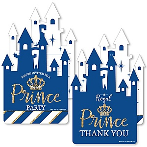 Royal Prince Charming - 20 Shaped Fill-In Invitations and 20 Shaped Thank You Cards Kit - Baby Shower or Birthday Party Stationery Kit - 40 Pack