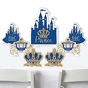Royal Prince Charming - Baby Shower or Birthday Party Centerpiece Table Decorations - Tabletop Standups - 7 Pieces