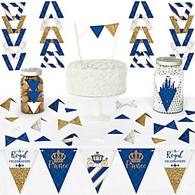 Royal Prince Charming - DIY Pennant Banner Decorations - Baby Shower or Birthday Party Triangle Kit - 99 Pieces