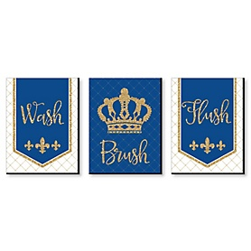 Royal Prince Charming - Kids Bathroom Rules Wall Art - 7.5 x 10 inches - Set of 3 Signs - Wash, Brush, Flush