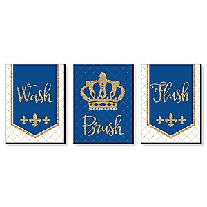 "Royal Prince Charming - Kids Bathroom Rules Wall Art - 7.5"" x 10"" - Set of 3 Signs - Wash, Brush, Flush"