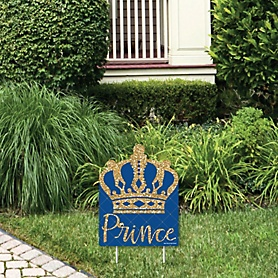 Royal Prince Charming - Outdoor Lawn Sign - Baby Shower or Birthday Party Yard Sign - 1 Piece