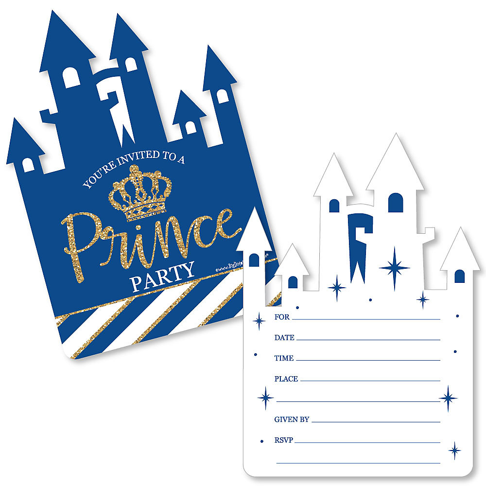 Royal Prince Charming Shaped Fill In Invitations Baby Shower Or Birthday Party Invitation Cards With Envelopes Set Of 12