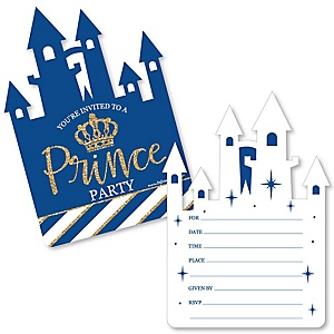Royal Prince Charming - Shaped Fill-In Invitations - Baby Shower or Birthday Party Invitation Cards with Envelopes - Set of 12