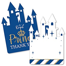 Royal Prince Charming - Shaped Thank You Cards - Baby Shower or Birthday Party Thank You Note Cards with Envelopes - Set of 12