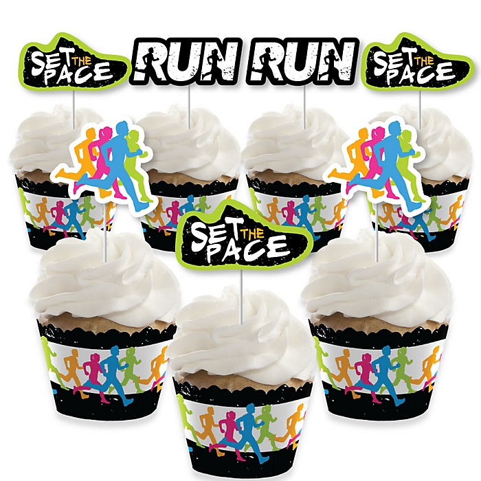 Set The Pace - Running - Cupcake Decoration - Track, Cross Country or Marathon Party Cupcake Wrappers and Treat Picks Kit - Set of 24