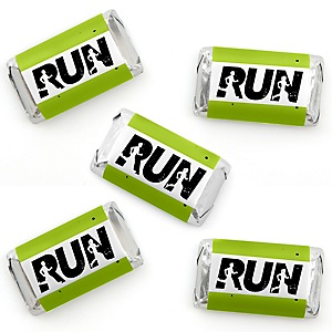 Set The Pace - Running - Mini Candy Bar Wrapper Stickers - Track, Cross Country or Marathon Party Small Favors - 40 Count