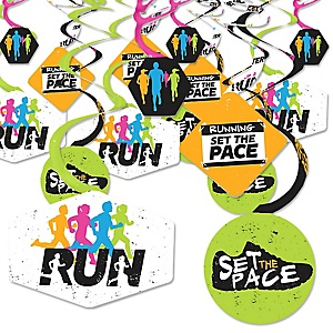 Set The Pace - Running - Track, Cross Country or Marathon Party Hanging Decor - Party Decoration Swirls - Set of 40