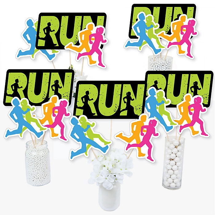 Set The Pace - Running - Track, Cross Country or Marathon Party Centerpiece Sticks - Table Toppers - Set of 15