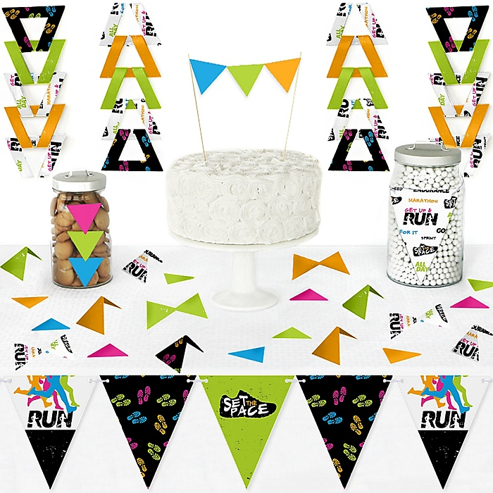 Set The Pace - Running - DIY  Pennant Banner Decorations - Track, Cross Country or Marathon Party Triangle Kit - 99 Pieces