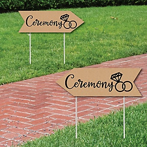 Rustic Wedding Ceremony Signs - Wedding Sign Arrow - Double Sided Directional Yard Signs - Set of 2 Ceremony Signs