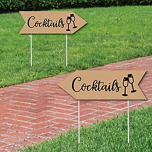 Rustic Wedding Cocktails Signs - Wedding Sign Arrow - Double Sided Directional Yard Signs - Set of 2 Cocktails Signs