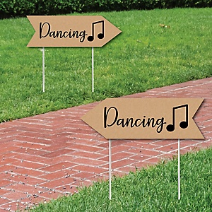 Rustic Wedding Dance Signs - Wedding Sign Arrow - Double Sided Directional Yard Signs - Set of 2 Dance Signs