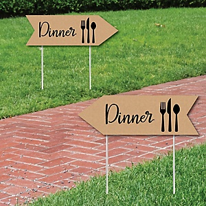 Rustic Wedding Dinner Signs - Wedding Sign Arrow - Double Sided Directional Yard Signs - Set of 2 Dinner Signs
