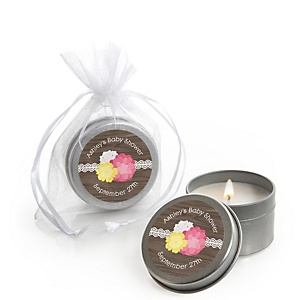 Rustic Floral - Candle Tin Personalized Baby Shower Favors