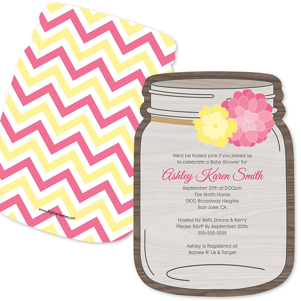 Rustic Floral - Shaped Baby Shower Invitations   BigDotOfHappiness.com