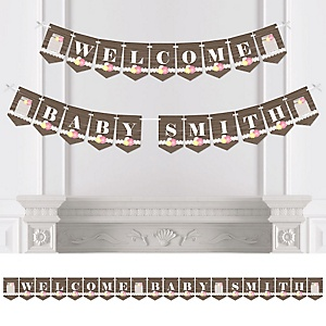 Rustic Floral - Personalized Baby Shower Bunting Banner