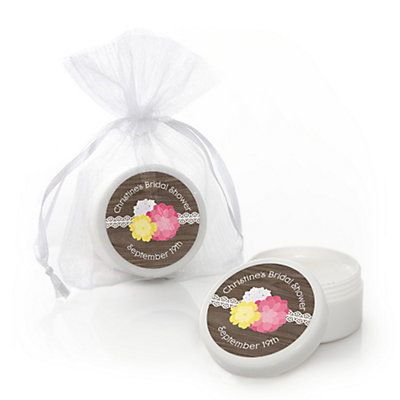 rustic floral personalized bridal shower lip balm favors bigdotofhappinesscom
