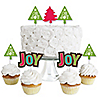 Rustic Joy - Dessert Cupcake Toppers - Holiday & Christmas Party Clear Treat Picks - Set of 24