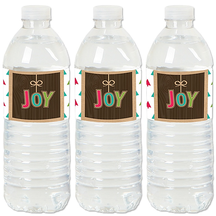Rustic Joy - Holiday & Christmas Party Water Bottle Sticker Labels - Set of 20