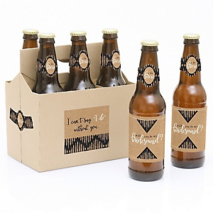 Rustic Kraft - Decorations for Women - 6 Will You Be My Bridesmaid Beer Bottle Label Stickers and 1 Carrier