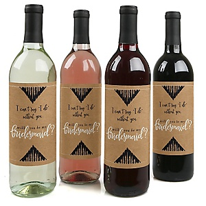 Rustic Kraft - Will You Be My Bridesmaid Decorations for Women - Wine Bottle Label Stickers - Set of 4