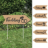 Rustic Kraft Wedding And Receptions Signs Double Sided Outdoor Yard Sign Set Of 6