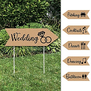 Rustic Kraft - Wedding and Receptions Signs - Double Sided Outdoor Yard Sign - Set of 6
