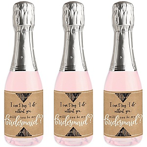 Rustic Kraft - Mini Wine and Champagne Bottle Label Stickers - Will You Be My Bridesmaid Gift - Set of 16