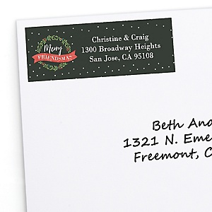 Rustic Merry Friendsmas - Personalized Friends Christmas Party Return Address Labels - 30 ct
