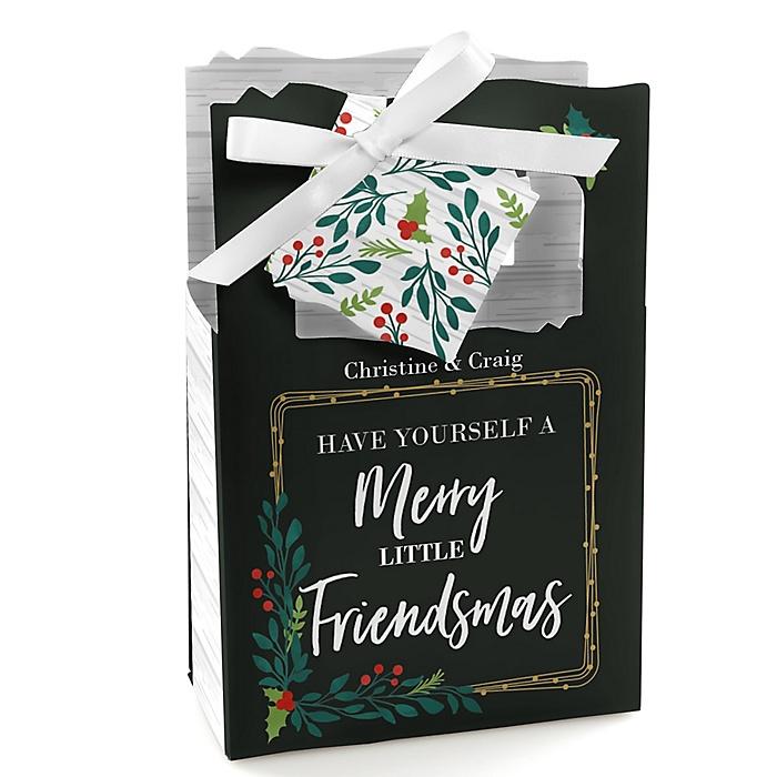 Rustic Merry Friendsmas - Friends Christmas Gift Favor Boxes - Set of 12